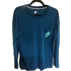 Nike teal long sleeve pocket tee